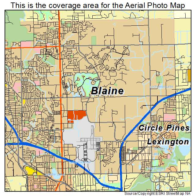 Aerial Photography Map of Blaine MN Minnesota