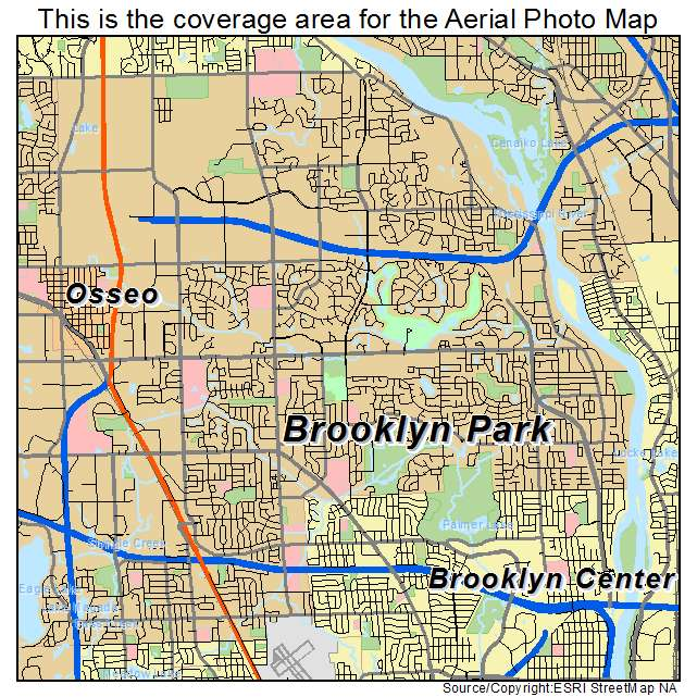 Aerial Photography Map of Brooklyn Park MN Minnesota