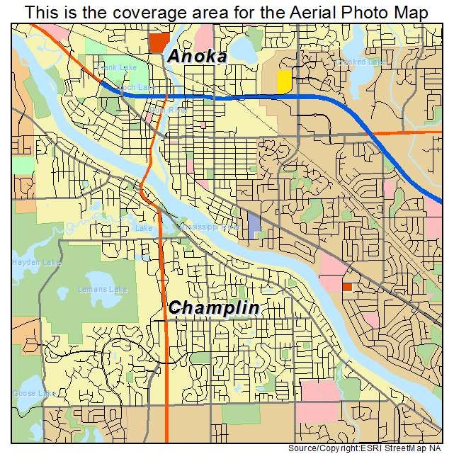 aerial photography map of champlin mn minnesota