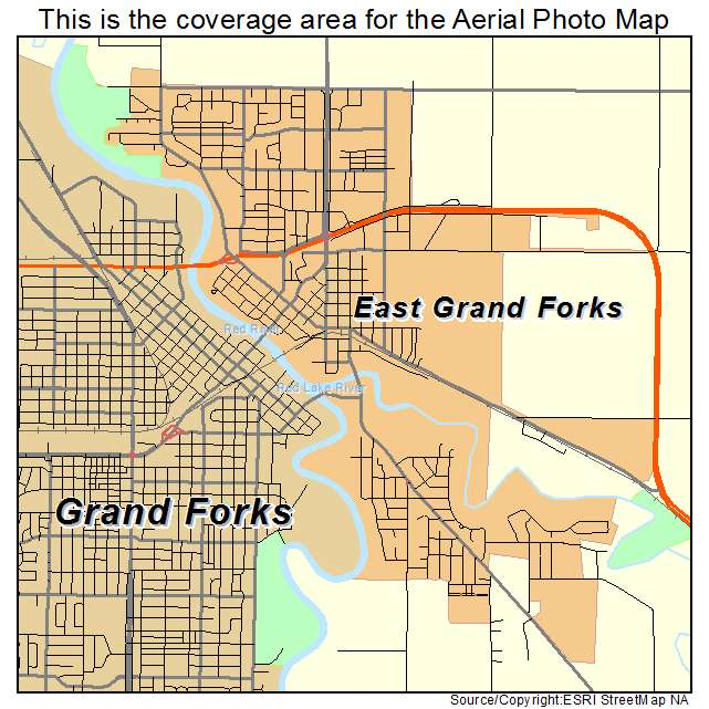 Aerial Photography Map of East Grand Forks MN Minnesota