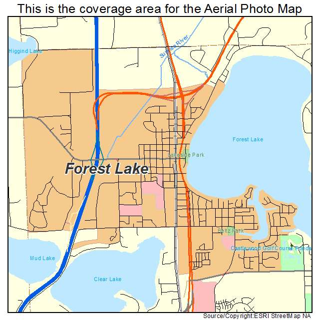 Aerial Photography Map of Forest Lake MN Minnesota