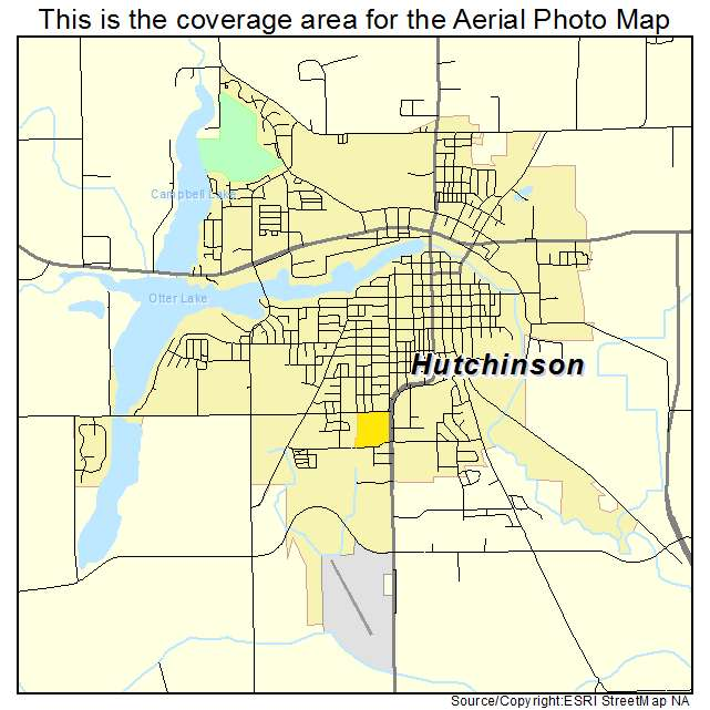 Aerial Photography Map of Hutchinson MN Minnesota