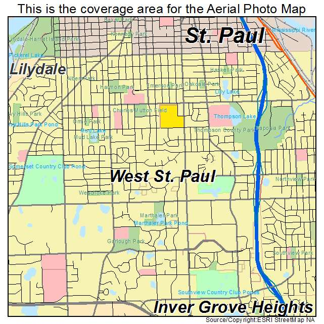 Aerial Photography Map Of West St Paul MN Minnesota