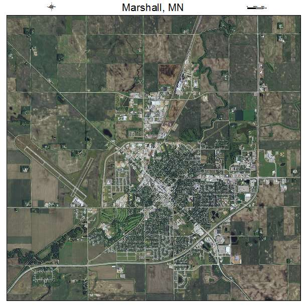 Aerial Photography Map Of Marshall MN Minnesota