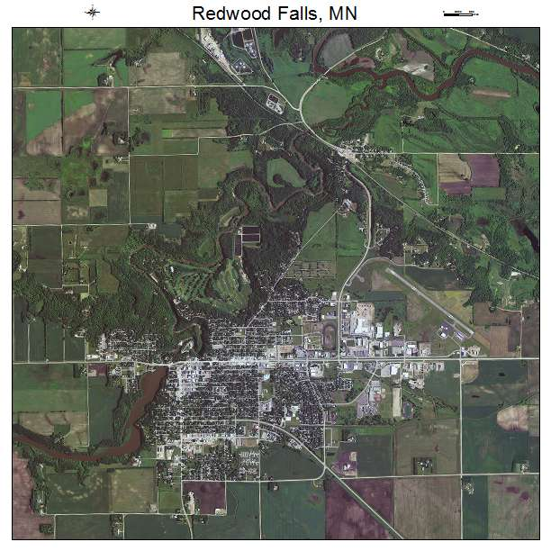 Redwood Falls, MN air photo map