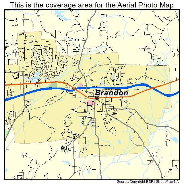 Aerial Photography Map of Brandon MS Mississippi