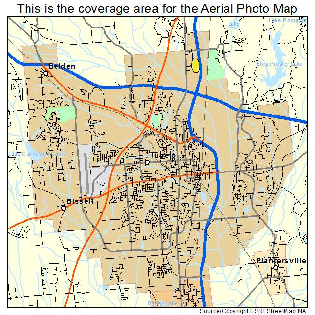 Aerial Photography Map of Tupelo, MS Mississippi