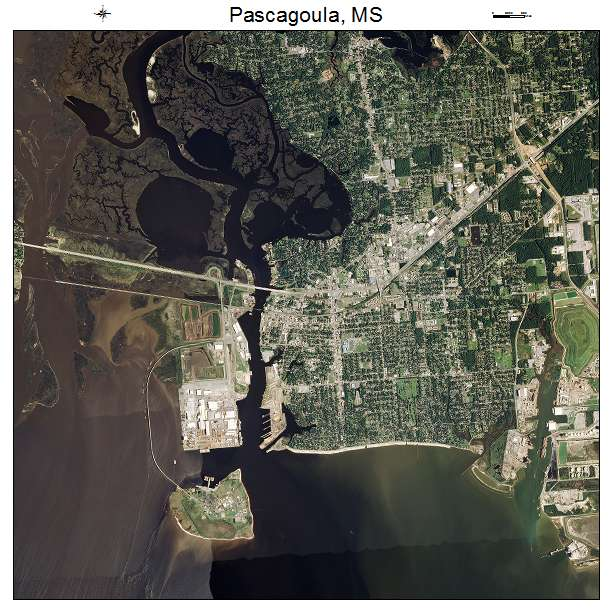 Aerial Photography Map Of Pascagoula MS Mississippi