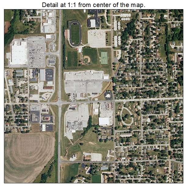 aerial photography map of marshall  mo missouri