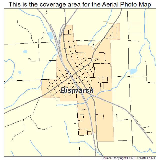 Aerial Photography Map of Bismarck MO Missouri