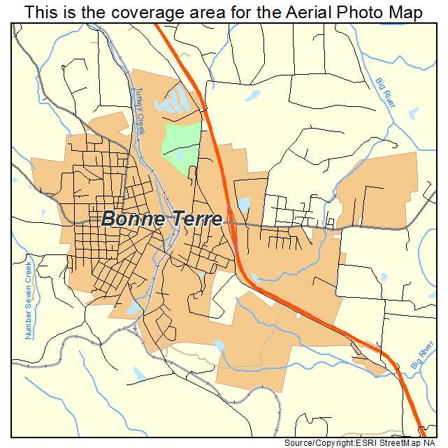 Aerial Photography Map of Bonne Terre MO Missouri