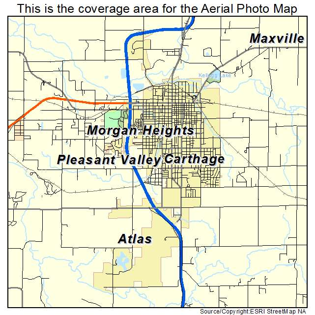 Aerial Photography Map Of Carthage Mo Missouri
