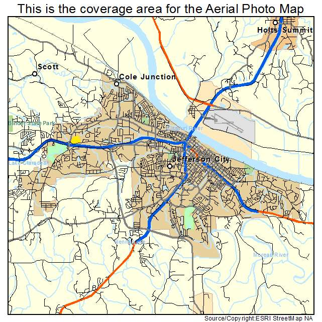 Aerial Photography Map Of Jefferson City MO Missouri