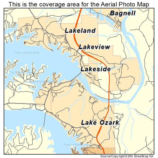 Aerial Photography Map Of Lake Ozark MO Missouri