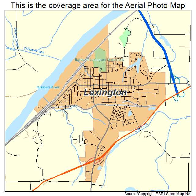 Aerial Photography Map of Lexington MO Missouri
