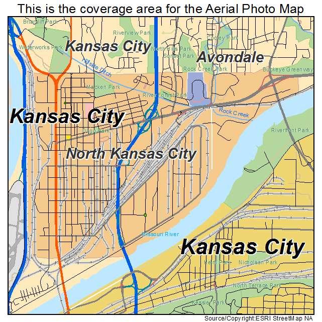 Aerial Photography Map Of North Kansas City MO Missouri