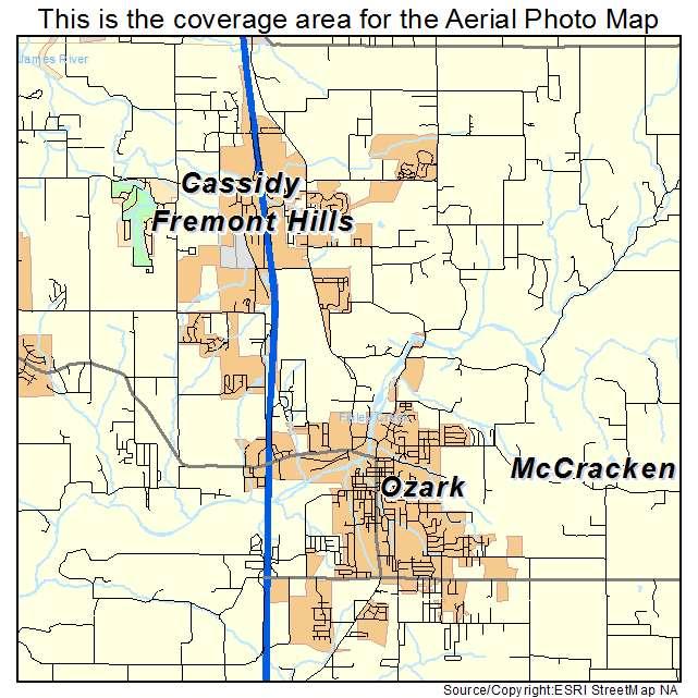 Aerial Photography Map Of Ozark MO Missouri