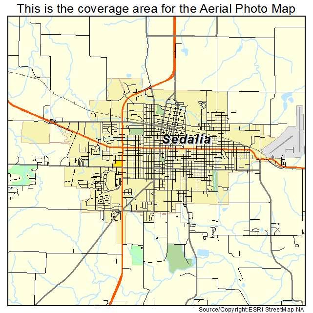 Sedalia Missouri Map.Aerial Photography Map Of Sedalia Mo Missouri