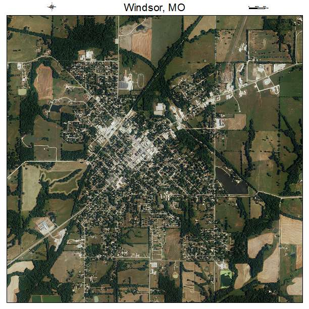 Aerial Photography Map of Windsor, MO Missouri