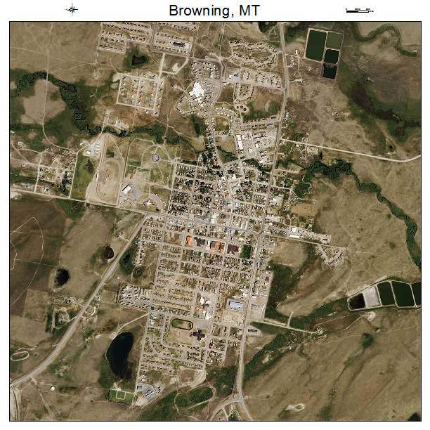 Aerial Photography Map Of Browning MT Montana