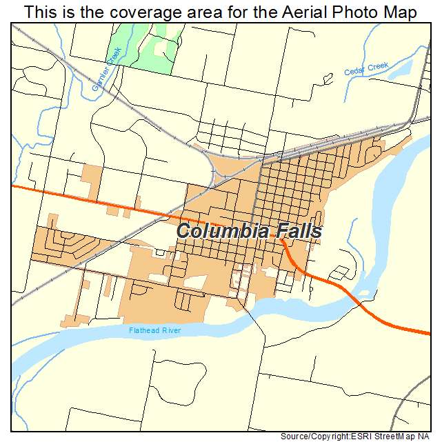 Aerial Photography Map Of Columbia Falls MT Montana