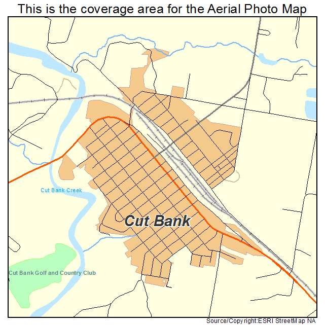 Aerial Photography Map Of Cut Bank MT Montana