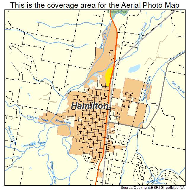 photograph relating to Printable Map of Montana identify Hamilton, MT Montana Aerial Images Map 2015