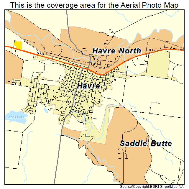 Aerial Photography Map Of Havre MT Montana
