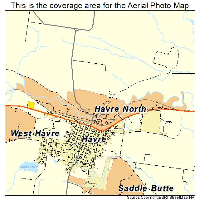 Aerial Photography Map Of Havre North MT Montana