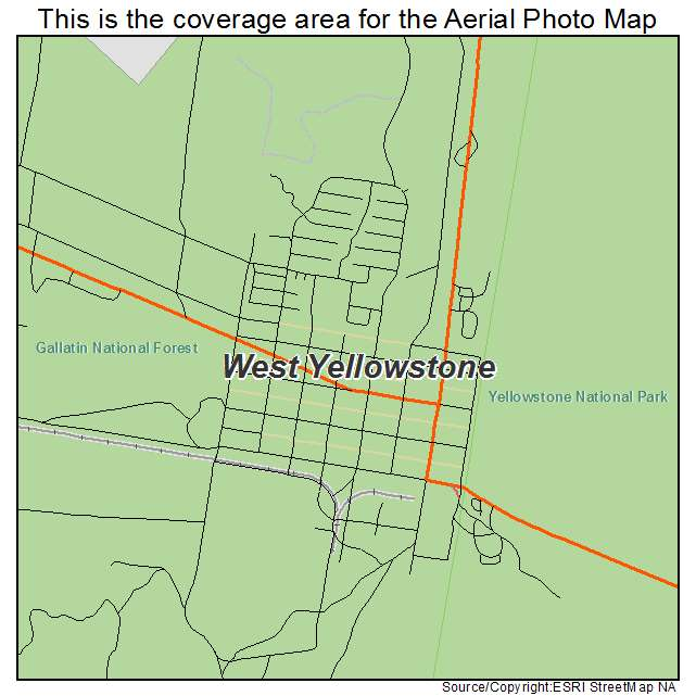 West Yellowstone Montana Map.Aerial Photography Map Of West Yellowstone Mt Montana