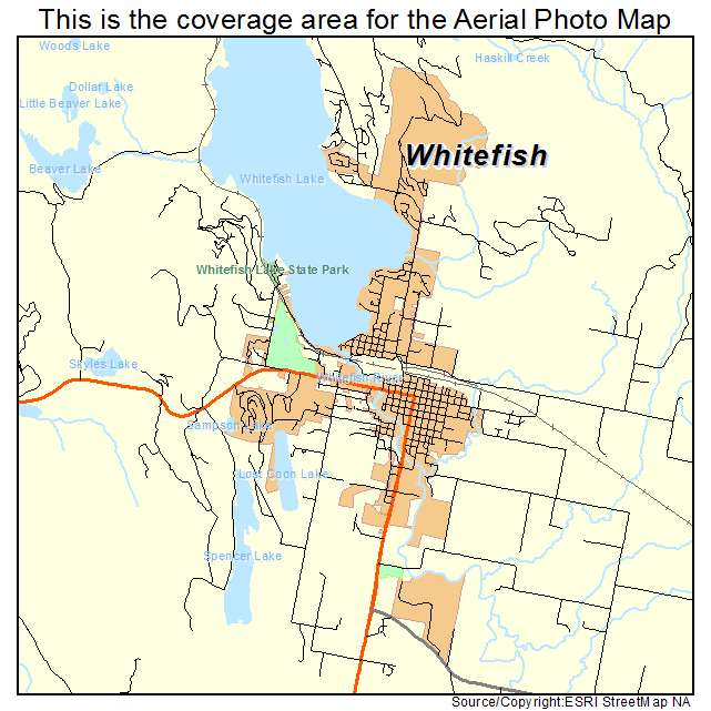 White Fish Montana Map Aerial Photography Map of Whitefish, MT Montana