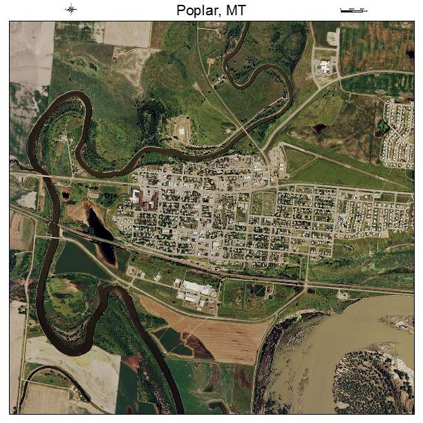 Poplar, MT Montana Aerial Photography Map 2015