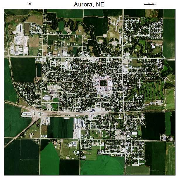aerial photography map of aurora  ne nebraska