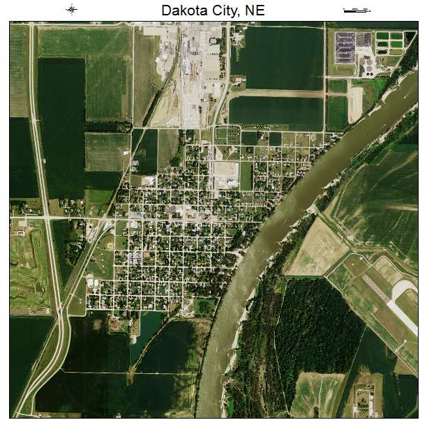 Dakota City, NE air photo map