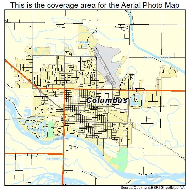 Aerial Photography Map of Columbus, NE Nebraska