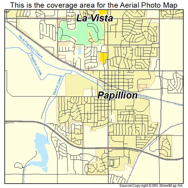Aerial Photography Map of Papillion, NE Nebraska