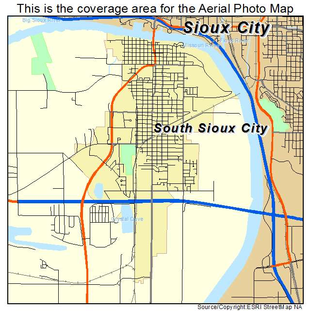 Aerial Photography Map of South Sioux City NE Nebraska