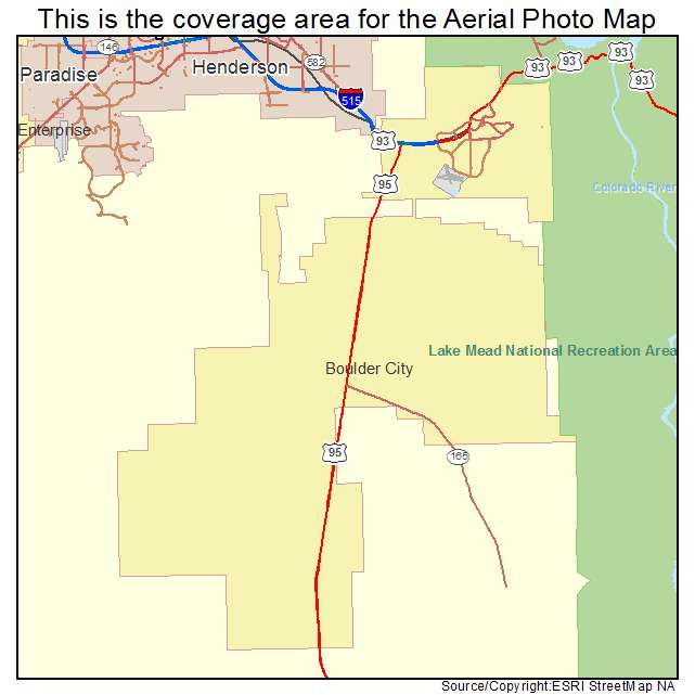 Aerial Photography Map Of Boulder City NV Nevada
