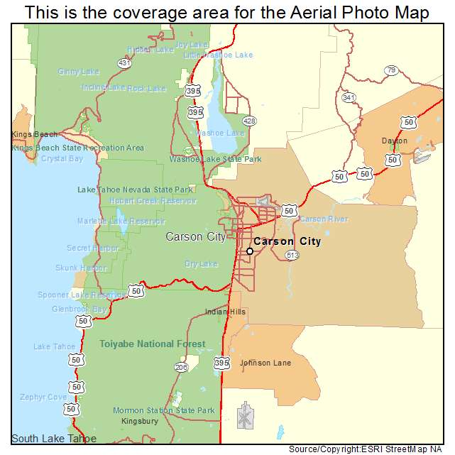 Aerial Photography Map Of Carson City NV Nevada