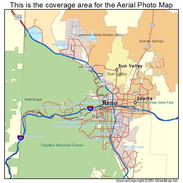 Aerial Photography Map Of Reno NV Nevada - Street map of reno nv
