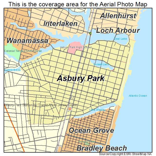 Asbury Park New Jersey Map.Aerial Photography Map Of Asbury Park Nj New Jersey
