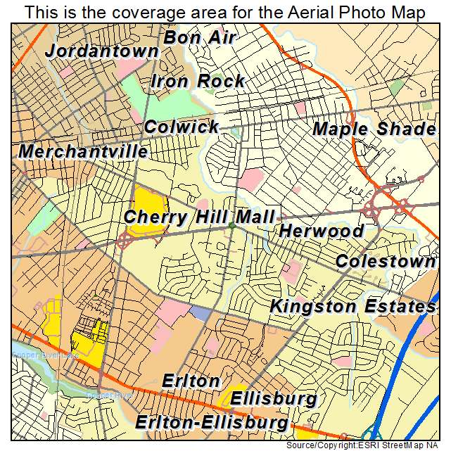 Aerial Photography Map Of Cherry Hill Mall  Nj New Jersey