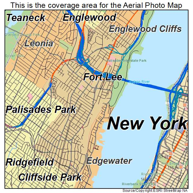 Fort Lee New Jersey Map.Aerial Photography Map Of Fort Lee Nj New Jersey