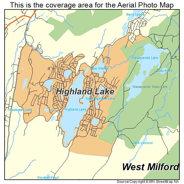 Aerial Photography Map of Highland Lake NJ New Jersey