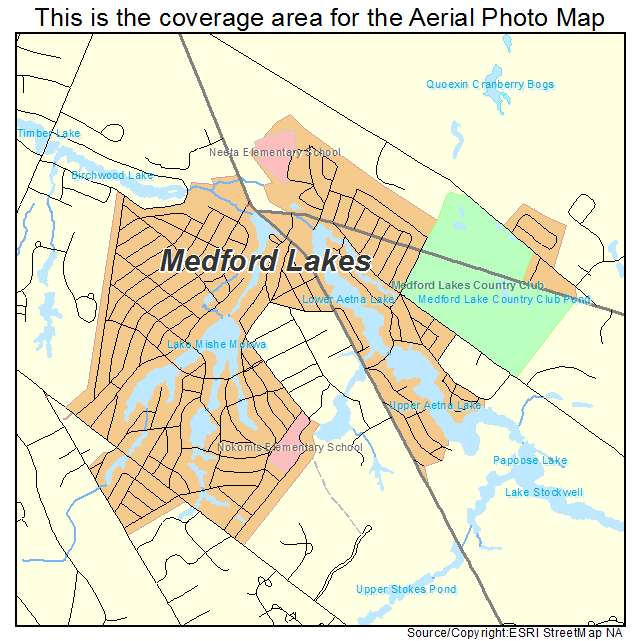 Aerial Photography Map of Medford Lakes NJ New Jersey
