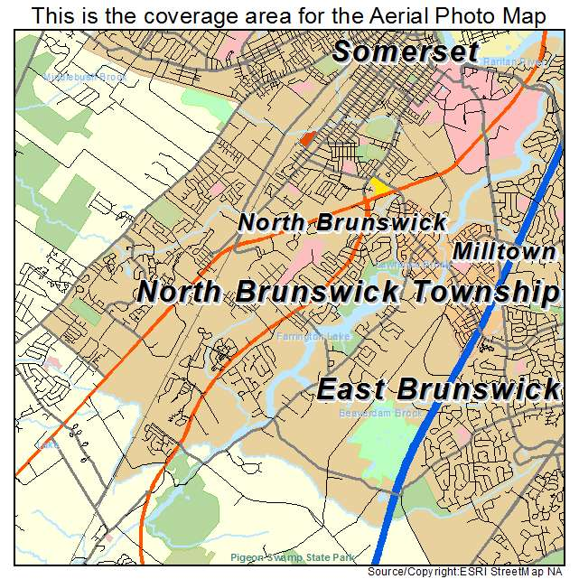 Aerial Photography Map Of North Brunswick Township, NJ New