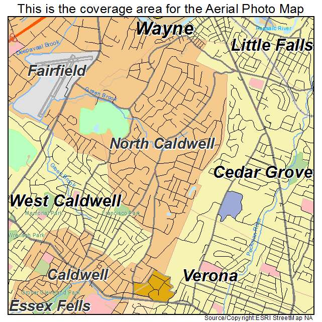 Caldwell New Jersey Map.Aerial Photography Map Of North Caldwell Nj New Jersey