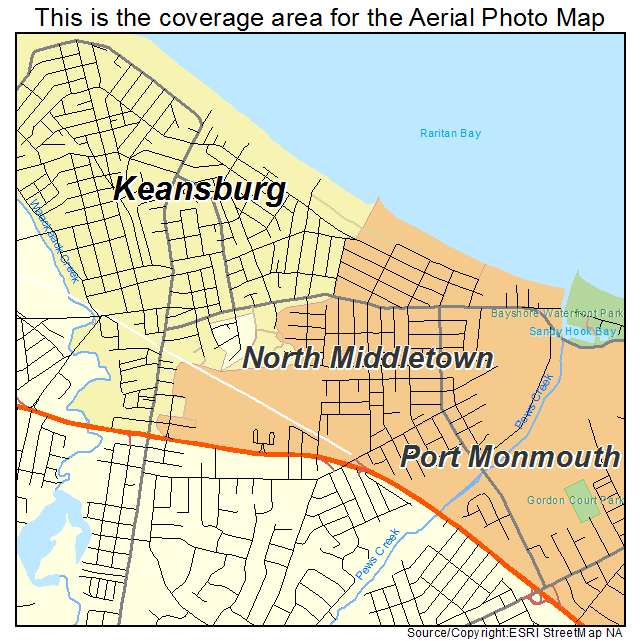 Aerial Photography Map of North Middletown NJ New Jersey