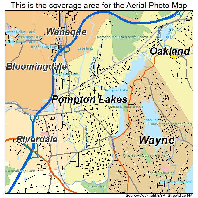 Aerial Photography Map Of Pompton Lakes NJ New Jersey