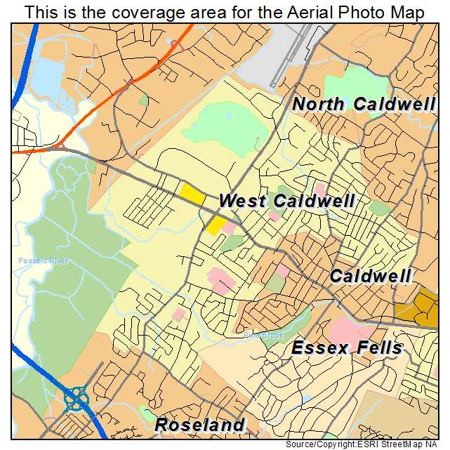 Caldwell New Jersey Map.Aerial Photography Map Of West Caldwell Nj New Jersey